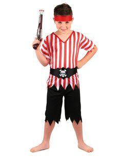 Costume pirata bambino  Questo costume da pirata da bambino comprende  pantaloncini neri e una tunica 030462e1a231