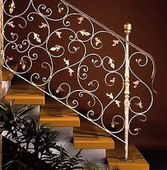 funky design wrought iron stair railings-not exactly what i'm thinking, but along the same lines.