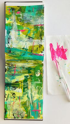 Looking for an art journal background idea? Try this technique from Nathalie Kalbach!
