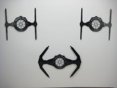 Star Wars TIE Fighters Wall Hangings made from old vinyl - Darth Vader and Wingmen. $95.00, via Etsy.
