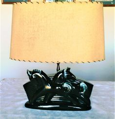 Vintage Mid Century Ceramic Double Horse T V or Table Lamp with Original Fiberglass Shade