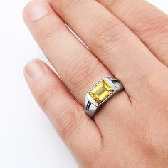 Men's Citrine Ring in 925 Sterling Silver with Black Onyx Accents #mensjewelry #giftforhim #gem #mensfashionpost #jewelry #ownit