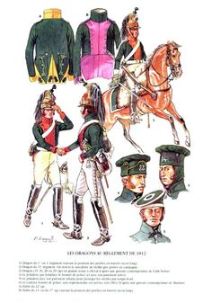 French; Dragoons as per 1812 regulations . From Top Left Clockwise Coat of 22nd Regt, Coat of either 14th or 17th Regt(dependant on rear pockets being vertical or horizontal). Mounted Dragoon 27th Regt. Pokalems of 22nd & 14th Regts, non regulation bonnet de Police, Dragoon 11th Regt & Dragoon either 1st or 4th Regt.