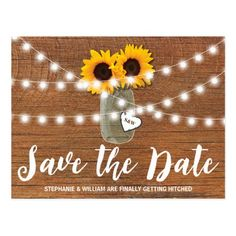 RUSTIC SUNFLOWER MASON JAR SAVE THE DATE POSTCARD