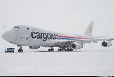 "Cargolux Boeing 747-4R7F/SCD LX-OCV ""City of Differdange"" braving the elements at Budapest-Ferihegy, January 2010. (Photo: Kiskockas)"