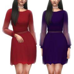 Rusty Nail See-through Long Sleeve Dress Recolor at Kenzar Sims • Sims 4 Updates