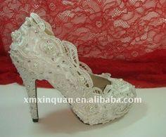 Fashion crystal heel platform white lace bridal wedding shoes