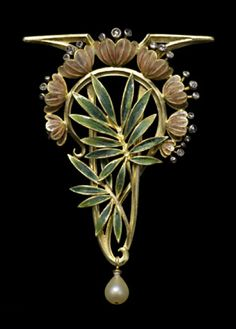 Gold, enamel, diamond and pearl jewel, in twisted leafy stem supporting eight cup shaped tawny golden enamelled flowers with diamond stamens surmounted by a sharp angular gold border. Louis Aucoc, Paris c. 1900.