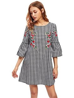 SheIn offers Fluted Sleeve Blossom Embroidered Gingham Dress & more to fit your fashionable needs. Simple Dresses, Casual Dresses, Fashion Dresses, Summer Dresses, Short Frocks, Mode Chic, Vestido Casual, Gingham Dress, Mode Hijab