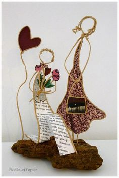 Decoration wedding piece mounted Center table figurines married string paper heart love bouquet sculpture Kraft wire armed on Driftwood Wire Crafts, Diy And Crafts, Wire Art, Art Festival, Clay Creations, 50th Anniversary, Vintage Books, Twine, Wire Wrapping