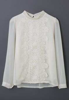 Floral Lace Panel Beige Chiffon Shirt - Tops - Retro, Indie and Unique Fashion