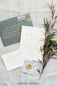 Another metallic that fits right into autumn? Antique gold. On this suite, for an Ashlee Virginia wedding, Steph B. and Co. paired the hue with olive green for a romantic effect. #weddingideas #wedding #marthstewartwedding #weddingplanning #weddingchecklist Fall Wedding Invitations, Gold Invitations, Wedding Stationary, Invitation Cards, Invitation Suite, Mod Wedding, Wedding Day, Wedding Orange, Wedding Shit