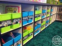 Full color book bin labels and corresponding book cover labels make keeping book organization a breeze.