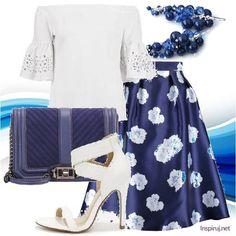 Stylizacje dnia z Inspiruj.net – Randka w granatowych klimatach - KobietaMag.pl Dark Blue, Navy, Floral, Skirts, Image, Fashion, Moda, Fashion Styles, Dark Teal