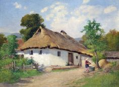 . ZORKÓCZY GYULA (1873-1932) Old Boats, Diy Canvas, Traditional House, Old Houses, Countryside, Street Art, Cottage, Ocean, Watercolor