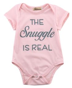 1pcs!!Newborn Toddler Infant Baby Boys Girls Short Sleeve Letter Printing Bodysuit Jumpsuit Outfits Summer Clothes Pink New #Affiliate