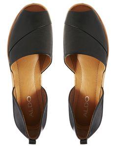 Image 3 ofALDO Black Peep Toe Flat Shoes
