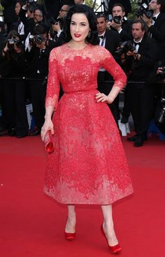 Dita Von Teese wearing Elie Saab at Cannes. A true fashion moment in red at the 2013 Cannes Film Festival!