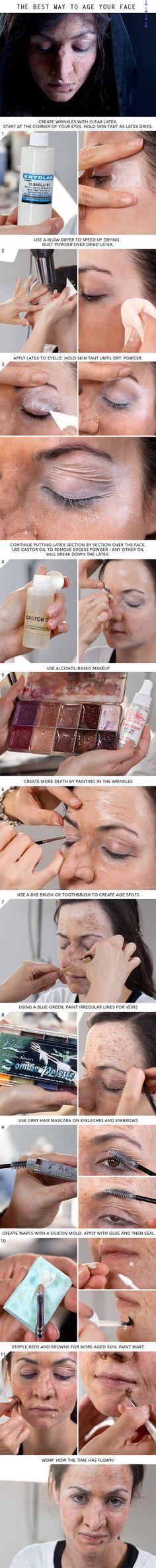 20 spooky Halloween make-up tutorials - Halloween - Old Age Makeup, Fx Makeup, Cosplay Makeup, Creepy Makeup, Makeup Brushes, Makeup Ideas, Makeup Geek, Witch Makeup, Movie Makeup