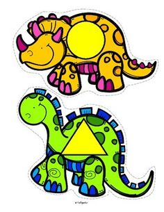 **FREE***   Set of dinosaurs, featuring 12 different basic 2 dimensional shapes, to use for early learners - preschool, pre-K and Kindergarten. Large pieces for little hands.