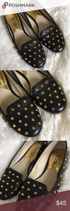Michael Kors Ailee Studded Flats These black Michael Kors gold studded flats are so cute! They've been worn a few times but are in great condition!  🚭 From a smoke-free home ❌ No trades or off PoshMark sales 🛍 Bundles welcome and encouraged 👌🏻 Reasonable offers welcome ⚡️ Same/next day shipping 🌬 All items are steamed before shipping MICHAEL Michael Kors Shoes Flats & Loafers