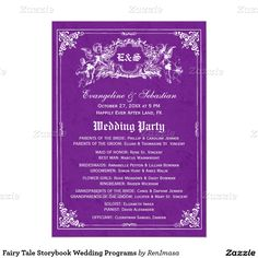Fairy Tale Storybook Wedding Programs 5x7 Paper Invitation Card