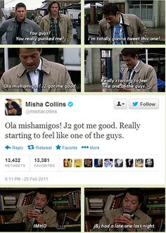 Supernatural [GIFSET] Just a reminder of the 4th wall expanding even further - Misha actually sent these texts as the episode aired. Click through...