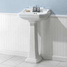 Foremost Series 1920 Pedestal Combo Bathroom Sink in White Perfect for a retro renovation in a small bathroom 1920s Bathroom, Add A Bathroom, Modern White Bathroom, Basement Bathroom, Bathroom Ideas, Bathroom Designs, Bathtub Ideas, Bathroom Showers, Contemporary Bathrooms