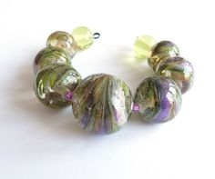Fresh green and orchid summer beads / SRA by Beadsagogo on Etsy, $20.00