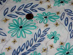 Vintage 36 Wide Cotton Fabric Turquoise Stylized by lakeviewarts, $6.00