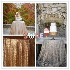 "Sparkly 48"" Round Sequin Tablecloth for Happy Wedding Banquet Christmas  #handmaded"