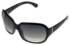 Nine West Cat Eye Sunglasses Black 100% UV Protection Plastic 63-17-130 Case Lg