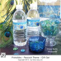 Water Bottle Labels - Print your own at home - Peacock Theme Party Printables - Free Printables, Free Graphics, Free Kits, Free Digital Clip Art, Graphics and Backgrounds for Scrapbooking, Gina Jane Designs - DAISIE Company