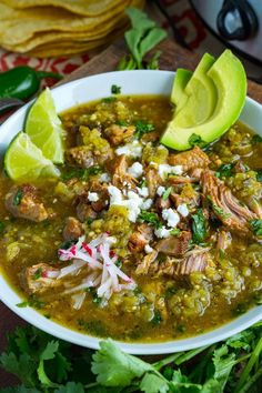 A recipe for Chili Verde : A Mexican style pork stew in a tasty salsa verde that is slowly braised until the pork melts into your mouth! A Mexican style pork stew in a tasty salsa verde that is slowly braised until the pork melts into your mouth! Yummy Recipes, Chili Recipes, Italian Recipes, Mexican Food Recipes, Healthy Recipes, Healthy Food, Pork Recipes, Mexican Desserts, Freezer Recipes