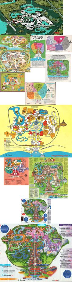 Disney Maps through the years #disney #amusementparkmap