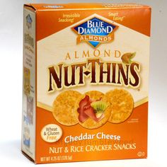 BLUE DIAMOND NUT-THINS almond crackers Cheddar Cheese snack chips Nut & rice NEW