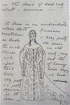 Grand Princess Ella's description of her sister's, Alexandra's, wedding dress to their grandmother Queen Victoria.