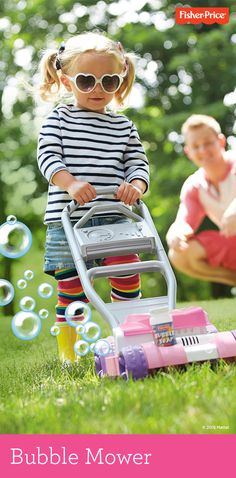 """Sun's out. Bubbles are out. Get your mow on with the Fisher-Price® Bubble Mower in pink. With more bubble action than ever, it's easy to push and roll along, and helps give your mini """"grown-up"""" a happy sense of accomplishment."""