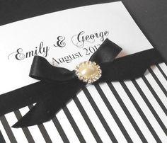 Wedding Invitation Black and White Stripes - Folksy