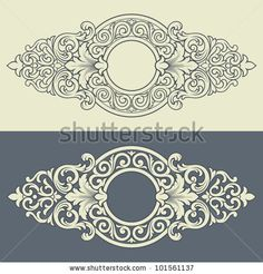 stock vector : Vector vintage border frame engraving with retro ornament filigree pattern in antique baroque style decorative design