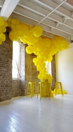 Trendy Wedding Decorations Balloons Events Ideas - Decoration For Home Balloon Installation, Balloon Backdrop, Balloon Garland, Balloon Decorations, Wedding Decorations, Yellow Party Decorations, Balloon Arrangements, Balloon Wall, Roterfaden