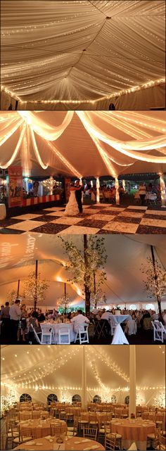 Tent, lights and drapes. So me being who i am... The tent + the checkered floor makes it look like an Alice in wonderland/Harry Potter wedding. Just saying.....