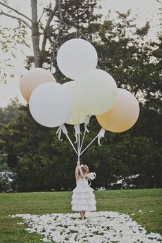 Flower Girl Ideas/ instead of flowers use balloons for and outdoor wedding having her release some as she goes down the aisle