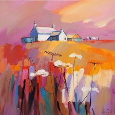 The Brae and the Hay - Pam Carter Abstract Landscape Painting, Landscape Art, Landscape Paintings, Painting & Drawing, Watercolor Paintings, Watercolour, Urbane Kunst, Painting Inspiration, Amazing Art