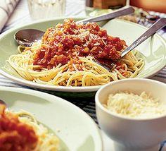 Finbar's veggie spag bol recipe - Recipes - BBC Good Food, great if you like lentils Veggie Spaghetti, Vegetarian Spaghetti, Vegetarian Recipes Dinner, Veggie Recipes, Dinner Recipes, Healthy Recipes, Cheese Spaghetti, Veggie Meals, Vegan Pasta