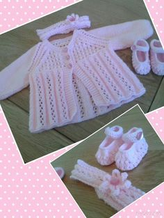 To fit 0-3 months. Set comprises of matinee coat, shoes and headband.  Rock-a-Bye Babyknits.