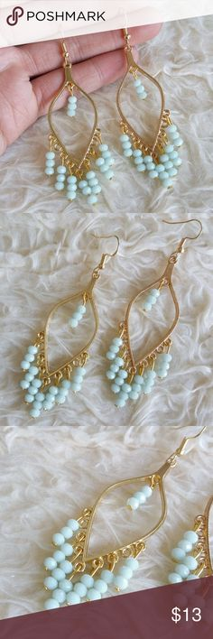 ❄ Light-Blue Beads Dangle Drop Earrings Trending style! These pair of Light-Blue Beads Dangle Drop Earrings are super light weight !! Great gifting idea or add them to your fashionista collection- Be EarResistible!  Easy to wear, they will give a stylish boost to every outfit all day long. Length None Jewelry Earrings