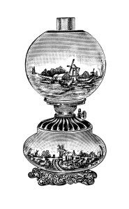 Antique Table Lamp Graphics Black And White Clip Art Decorated