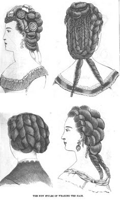 With the first bustles in the early 1870s the hair was lifted higher, sloping upward from forehead to occiput, then cascading to the shoulders in lavish twisted plaits (braids) or curls, or both, or occasionally worn in a chignon. During this period enormous quantities of false hair were used by the very fashionable.