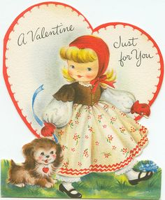 A Valentine just for you. My Funny Valentine, Valentine Images, Vintage Valentine Cards, Vintage Greeting Cards, Vintage Holiday, Valentine Day Cards, Valentines Diy, Vintage Postcards, Happy Valentines Day
